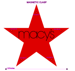 Macy's Custom Flashing Red Star Blinky Light Pin