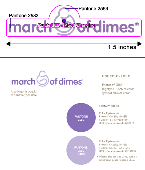 March of Dimes Custom Logo Flashing Blinky Light Pin with Logo Color Specification Guide
