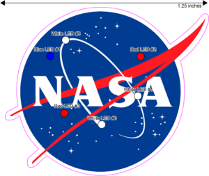 NASA Custom Light up Logo Pin LED Diagram